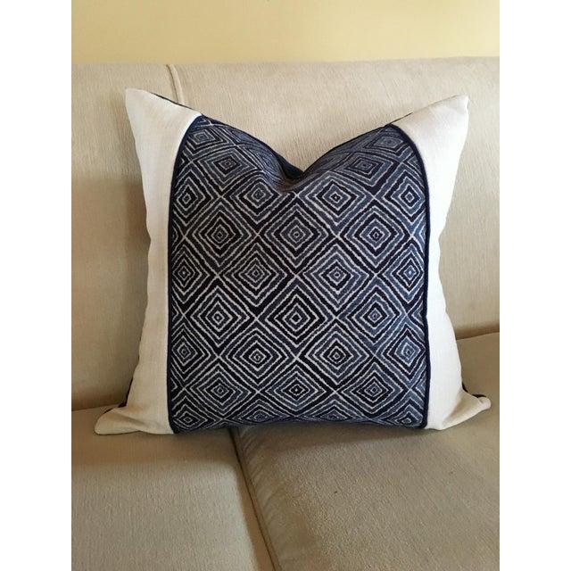 Robert Allen Robert Allen Blue & White Geometric Fabric Accent Pillow Covers - A Pair For Sale - Image 4 of 11