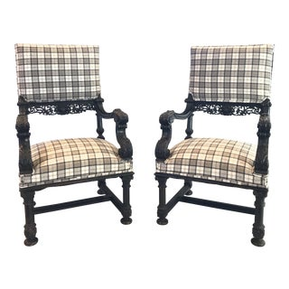 Plaid Intricately Carved Ebonized Lions Head Chairs -A Pair For Sale