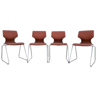 Adam Stegner Bentwood and Chrome Stacking Dining Chairs For Sale