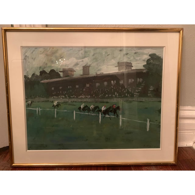 Contemporary 1970s Horse Race on the Green Track Framed Original Painting Signed by the Artist For Sale - Image 3 of 13