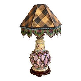 1980s MacKenzie Childs Porcelain Lamp Beaded Shade For Sale
