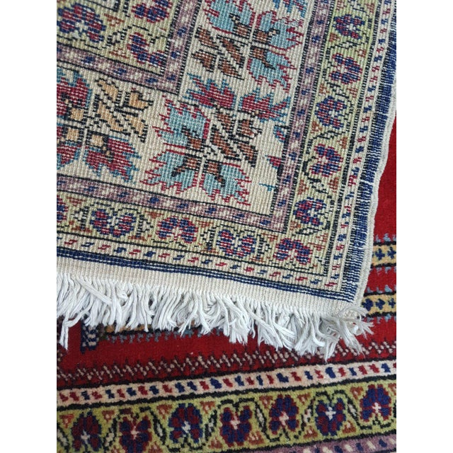 1980s 1980s Traditional Oriental Handmade Prayer Carpet, Double Knotted Small Sized Pile Rug, Wall Hanging Floor Covering Rugs, 3' X 4'7'' / 92x139cm For Sale - Image 5 of 6