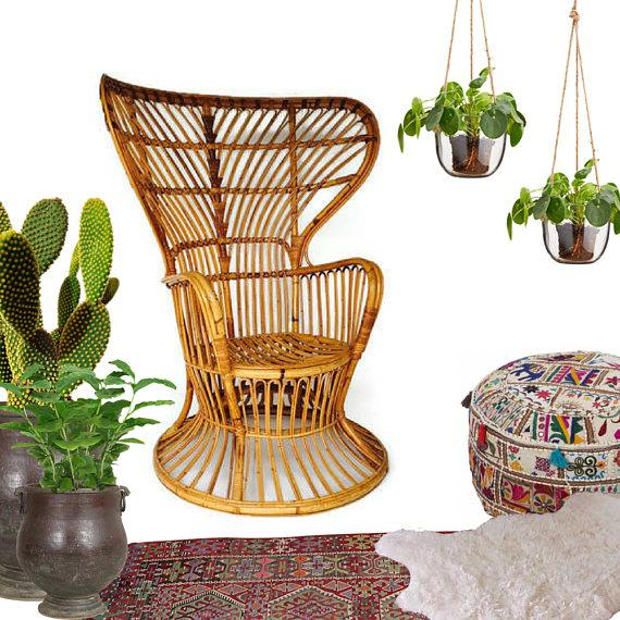 Franco Albini Style Vintage Bamboo Peacock Chair - Image 2 of 6