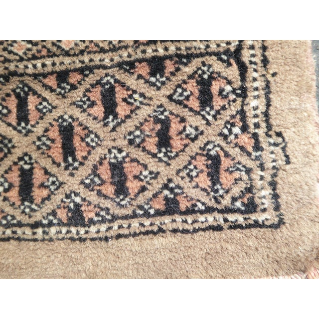 Vintage Mid-Century Handwoven Wool Pakistan Bokhara Area Rug - 4′3″ × 6′7″ For Sale - Image 10 of 12