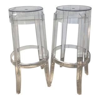 Kartell Charles Ghost Transparent Crystal Bar Stool - A Pair
