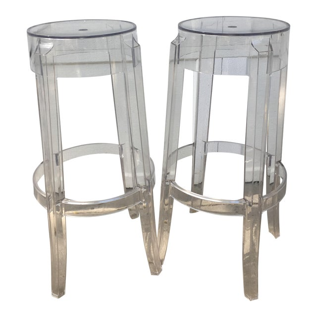 Kartell Charles Ghost Transparent Crystal Bar Stool - A Pair - Image 1 of 4