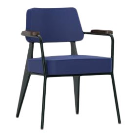 Vitra Fauteuil Direction in Ink Blue and Chocolate by Jean Prouvé For Sale