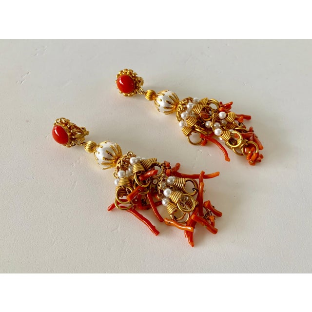 Vintage Pearl and Coral Chandelier Statement Earrings For Sale - Image 12 of 13