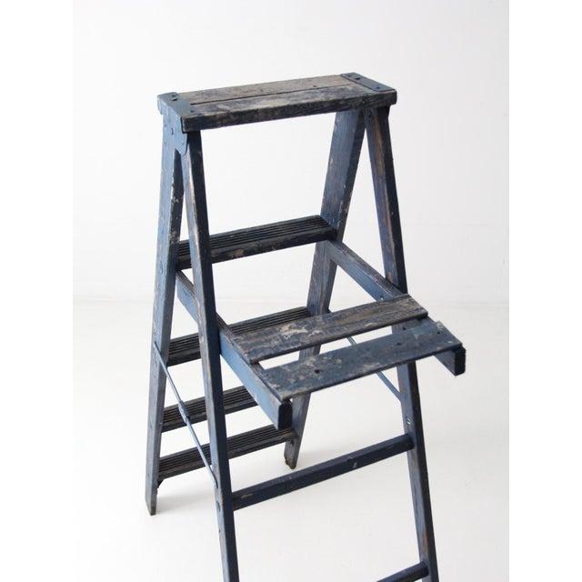 Blue Vintage Blue Wooden Ladder For Sale - Image 8 of 10