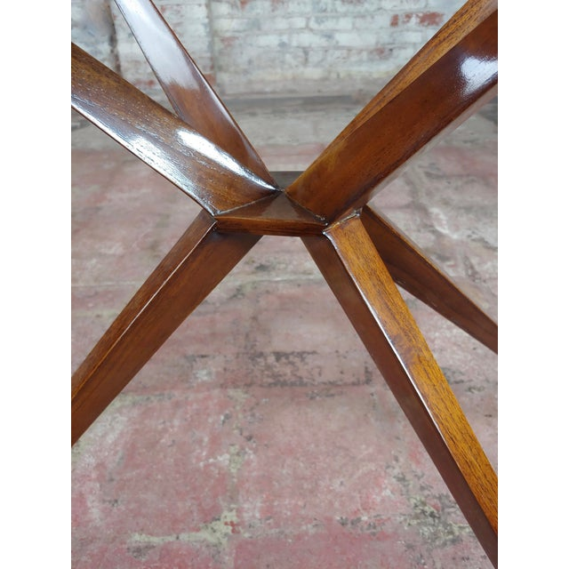 Brown Mid Century Modern Geometric Side Table With Goatskin Top For Sale - Image 8 of 10