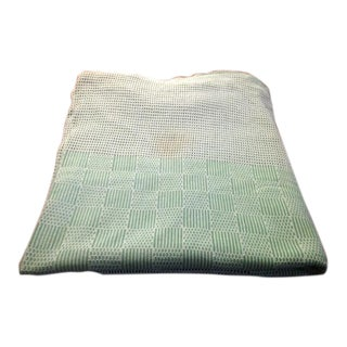 Vintage Green & White Mesh Tablecloth For Sale