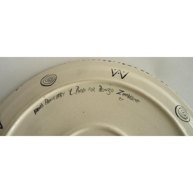 1997 African Safari Penzo of Zimbabwe Pottery Platter For Sale - Image 4 of 5