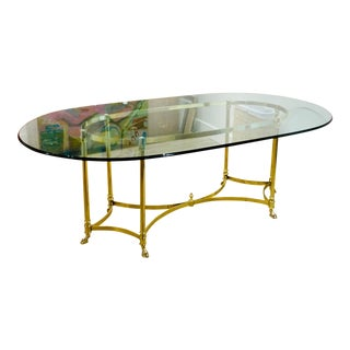 Hollywood Regency Labarge Brass + Glass Oval Table For Sale