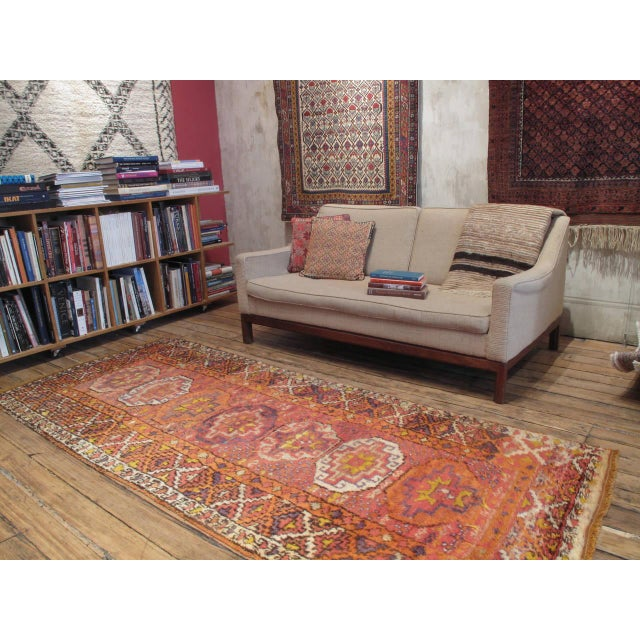 A very charming old Kurdish tribal rug from Eastern Turkey, in the characteristic long format, woven with silky wool and...