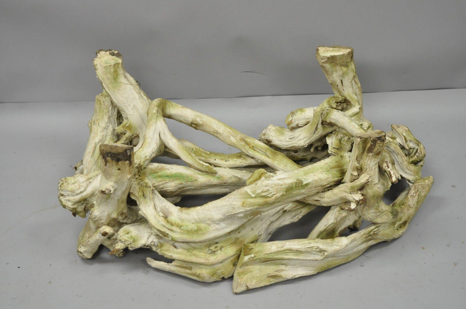 Vintage Mid Century Modern Driftwood Freeform White Coffee Table Base. Item  Features A White U0026