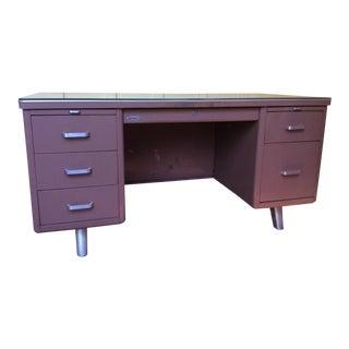 1950s Mid-Century Modern Metal Tanker Desk For Sale