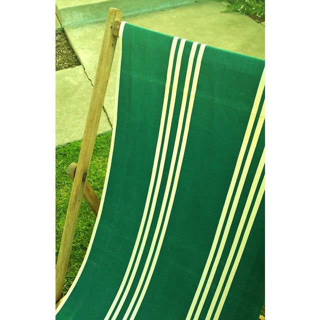 Vintage Wood & Canvas Folding Beach Deck Chair For Sale In Los Angeles - Image 6 of 7