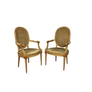 Pair John Widdicomb French Provincial Louis XVI Style Arm Chairs For Sale