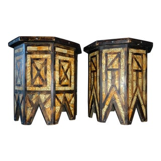 1940s Vintage Moroccan Islamic Wood Bone Inlaid Tables - a Pair For Sale