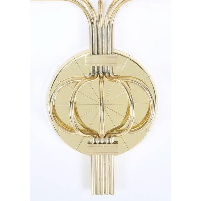 Gold 1950's vintage TOMMI PARZINGER BRASS WALL CANDELABRA- a pair For Sale - Image 8 of 9