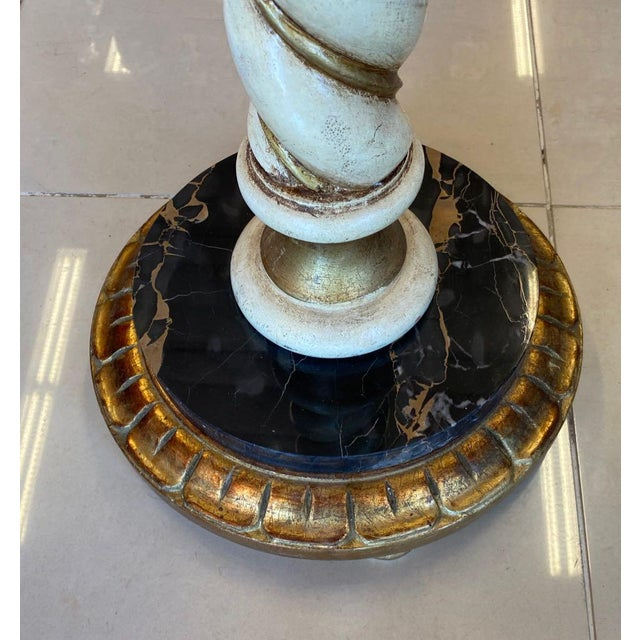 Wood Florentia Twist Pedestal With Black Marble For Sale - Image 7 of 8