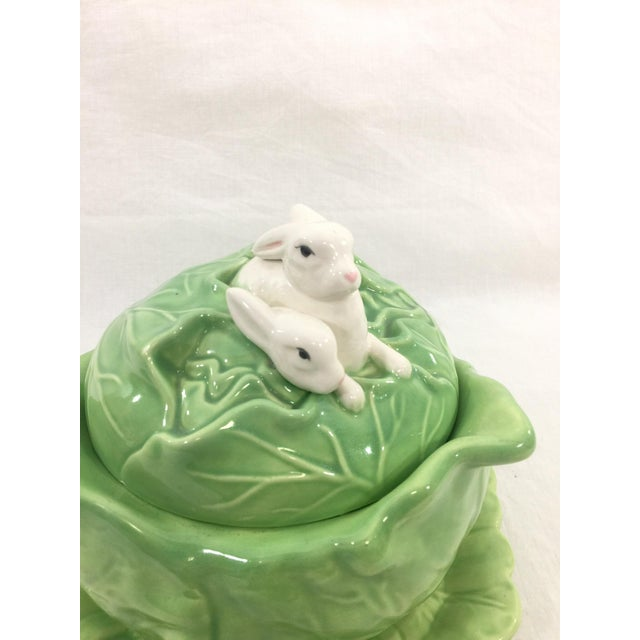 Ceramic Rabbit & Cabbage Tureen & Under Plate For Sale - Image 7 of 10