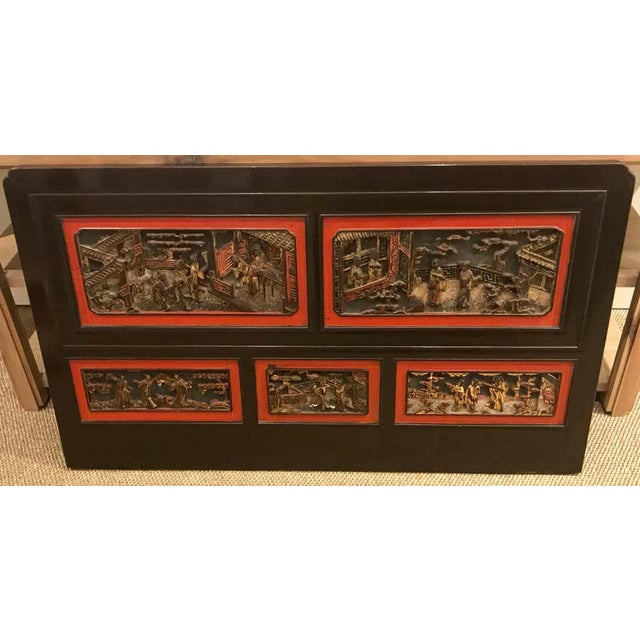 Late 19th Century Chinese Carved Panels/ Twin Headboards - a Pair For Sale - Image 4 of 13