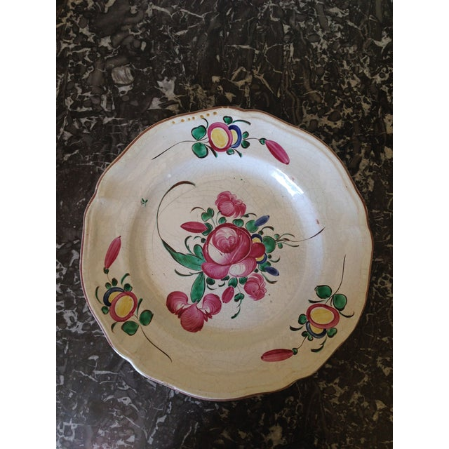 French Hand Painted Flower Faience Wall Plaque - Image 2 of 9