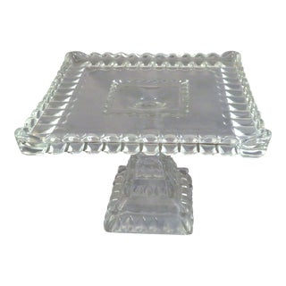 Vintage Square Pressed Glass Cake Stand With Rum Well