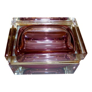 Murano Summers Glass Box, Clear With Amethyst Interior For Sale
