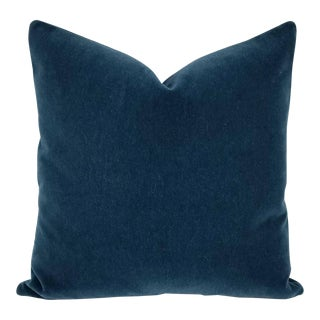"F. Schumacher San Carlo Mohair in the Color Delft Velvet Pillow Cover - 20"" X 20"" For Sale"