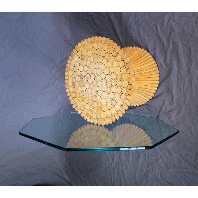 McGuire Glass Top Wheat Coffee Table - Image 4 of 10