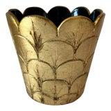 Image of Vintage Gold Leaf Italian Pottery Pot For Sale