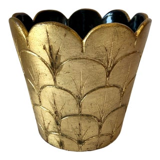 Vintage Gold Leaf Italian Pottery Pot For Sale