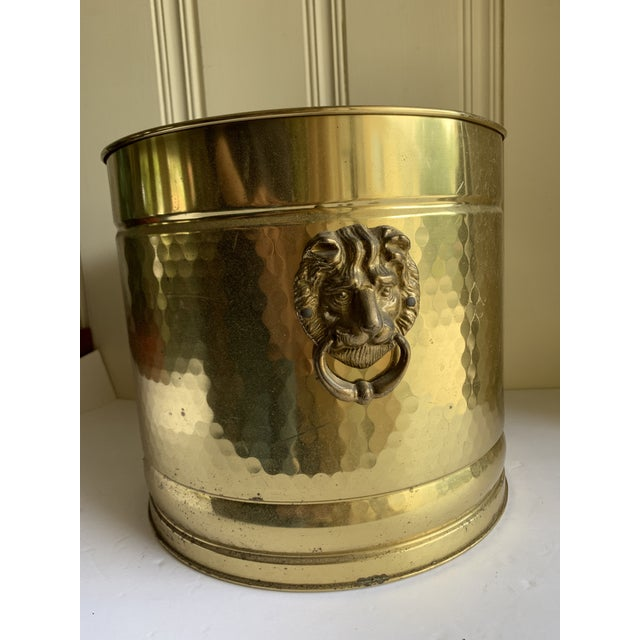 Gold Metal Lion Head Vessels, Set of Two For Sale - Image 11 of 13