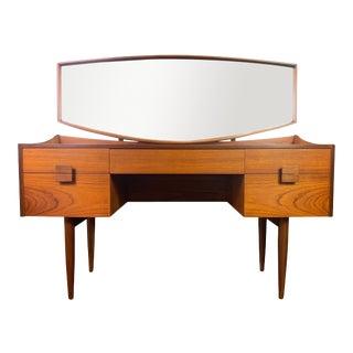 Vintage British Mid Century Modern Teak Vanity and Mirror by Kofod Larsen for G Plan For Sale