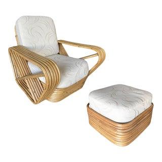 1950s Vintage Six-Strand Square Pretzel Rattan Lounge Chair with Ottoman For Sale