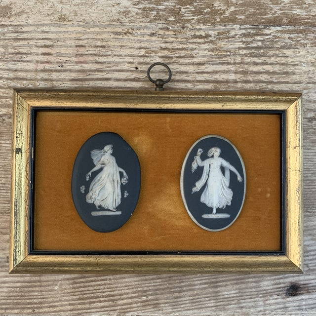 Antique Framed Black Basalt Cameos on Velvet. Unique and charming. Would look chic in a collection of other miniatures.