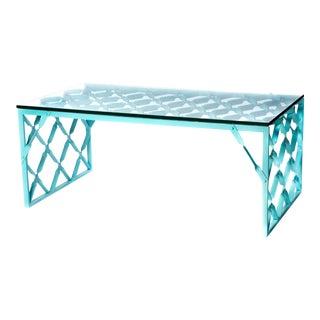 Aqua Turquoise Metal Table For Sale