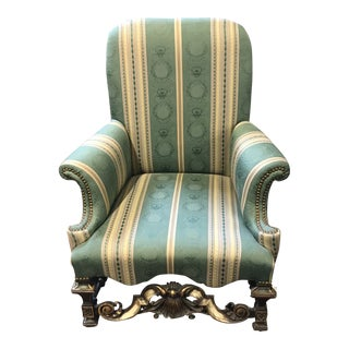 1930s English Tudor Revival Green and Yellow Striped Chair For Sale