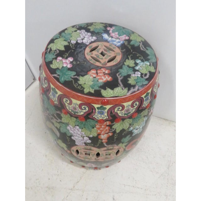Asian Chinese Porcelain Squirrel Grape Garden Stool For Sale - Image 3 of 4