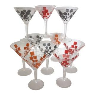 Zak Designs Acrylic Red Silver and Orange Martini Glasses - Set of 10 For Sale