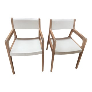 Contemporary De La Espada White Oak Deer Armchairs - a Pair