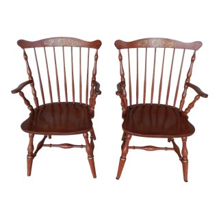 L. Hitchcock Fan Back Windsor Style Cherry Harvest Stenciled Pair Arm Chairs For Sale