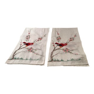 Vintage Hand Embroidered Bird Dresser Scarfs - a Pair For Sale