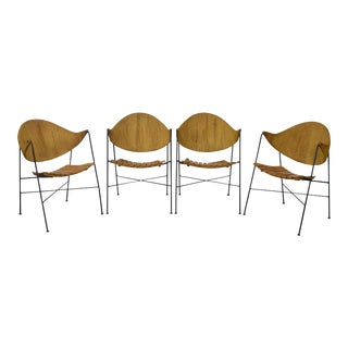 Arthur Umanoff for Raymor Set of 4 Iron Rush Back Slat Seat Arm Chairs