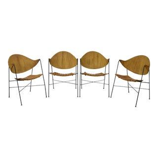 Arthur Umanoff for Raymor Set of 4 Iron Rush Back Slat Seat Arm Chairs