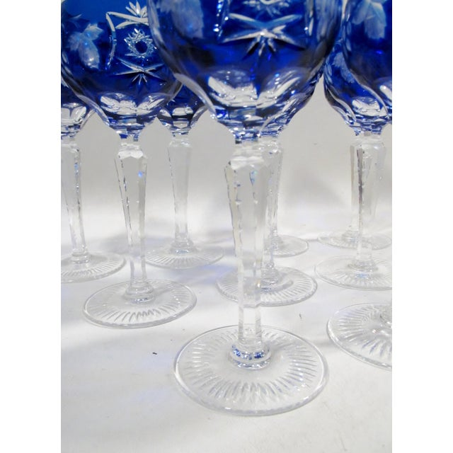 Nachtmann Traube Cobalt Blue Cut Clear Hock Wine Goblets - Set of 9 For Sale - Image 9 of 11
