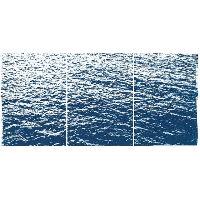 Bright Seascape in Capri, Navy Cyanotype Triptych 100x210 Cm, Classic Blue Edition of 20. For Sale - Image 11 of 11