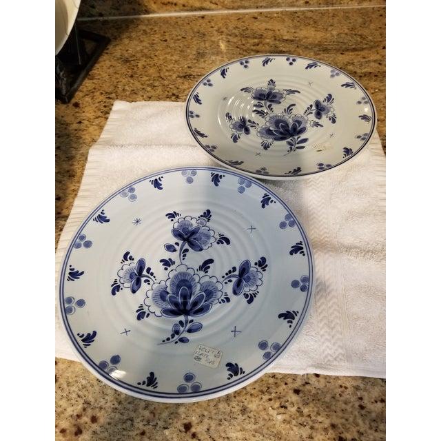 Traditional Vintage Holland Blue Delft Plates -2 For Sale - Image 3 of 6